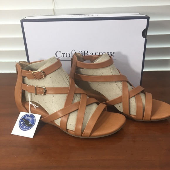 b4c8cafd1034 Croft   Barrow Tan Cognac Gladiator Sandals 8W NEW